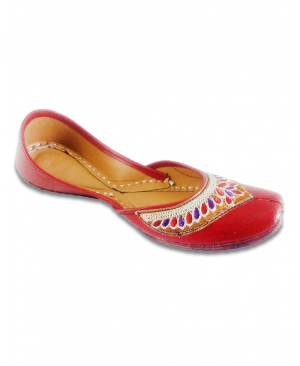 Red Multicolored Embroidered Casual Punjabi Jutti