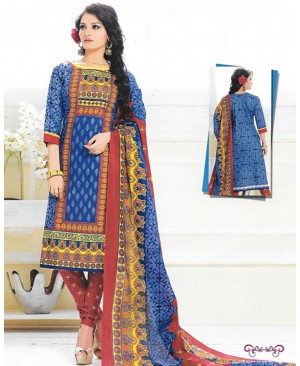 Blue& Red Printed Cotton Suit