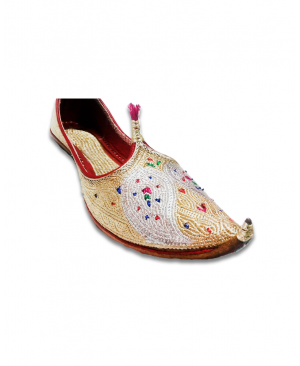 Golden Silver Embroidered Bridal Hand Crafted Punjabi Jutti