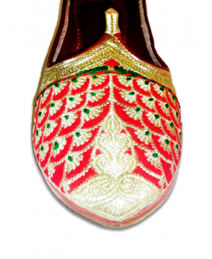 Red Golden Embroidered Handcrafted Punjabi Khusa