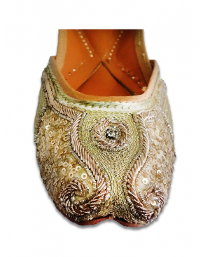 Golden Handwork Embroidered Casual Punjabi Jutti