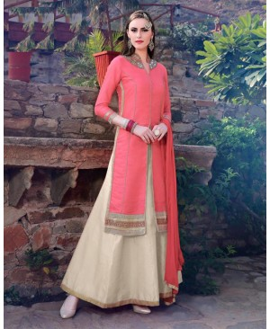 Pink & Off White Lehenga Party Wear Suit