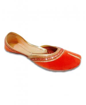 Orange Golden Velvet Casual Punjabi Jutti