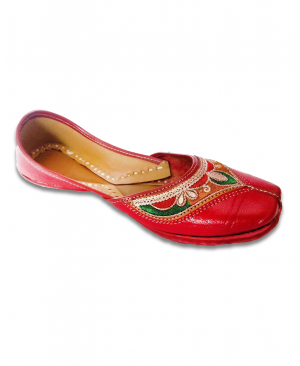 Maroon Multicolor Embroidered Casual Punjabi Jutti