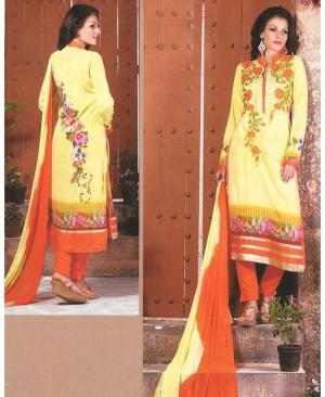 Yellow & Orange Mix Georgette Designer Suit