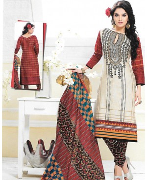 Cream & Maroon Printed Cotton Suit