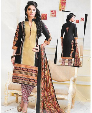 Beige & Black Printed Cotton Suit