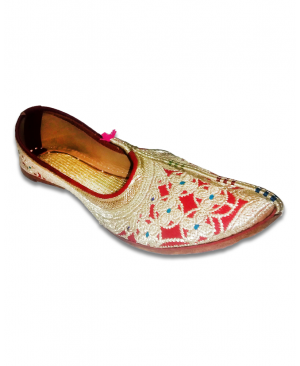 Red & Golden Embroidered Bridal Hand Crafted Punjabi Jutti
