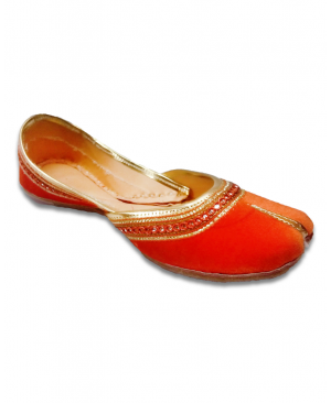 Orange Embriodered Casual Jutti