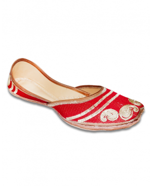 Red Golden Embroidered Casual Punjabi Jutti